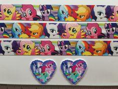 "2 Yds 1"" My little Pony  Inspired Grosgrain Ribbon and 2 Resin"