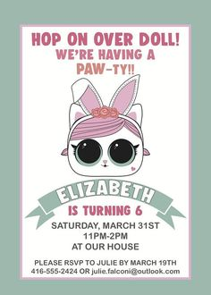 LOL Surprise Pets Birthday Invitation, Lol surprise birthday, Kitten birthday party, cat birthday party, bunny birthday party