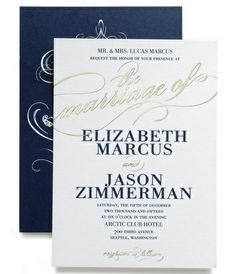 Signature Foil Wedding Invitations Modish Marriage: Navy  Designed by: East Six Design for Wedding Paper Divas  Dazzling foil-stamped invitations leave a lasting impression. Each invite is hand-stamped with real shimmering foil, resulting in a unique, stunning look.  http://www.weddingpaperdivas.com/product/14675/signature_foil_wedding_invitations_modish_marriage.html#color/05