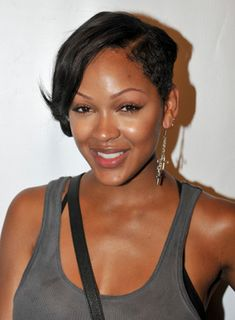 Meagan Good Short, Edgy, Funky, Black Hairstyle