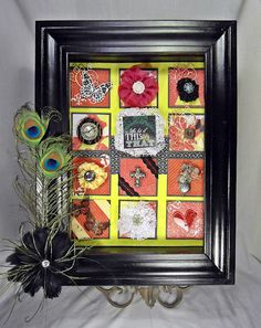 burlap or fabric background recipes mounted on colored squares to create grid