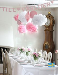 Välkommen på barndop | Starwoman One Year Birthday, First Birthday Parties, Birthday Wishes, First Birthdays, Flower Power Party, Party Table Centerpieces, Princess Birthday, Baby Shower Parties, Baby Shower Decorations