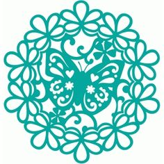 Silhouette Design Store - View Design #58030: butterfly flower doily