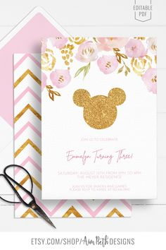 Minnie Mouse Birthday Party Invitation Template - #minniemouse #minniemousebirthday #minniemouseinvitation #pinkandgold #birthdayinvite #birthdayinvitation #girlbirthday #birthdayparty #birthdaypartyinspo #kidbirthdayparty #invitation #invite #editableinvite #editableinvitation #printableinvitation #invitationtemplate #editablepdf #diyinvitation Minnie Mouse Birthday Invitations, Pink Invitations, Printable Invitations, Invite, Girls Birthday Party Themes, Girl Birthday, Birthday Parties, Mountain Wedding Invitations, Christmas Gift Tags