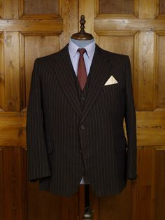 Vintage Bespoke Tailored Brown Rope-Stripe Worsted 3-Piece Suit. Dated 1978 but the brown worsted cloth is very 1940s, especially with the distinctive broken rope stripe.