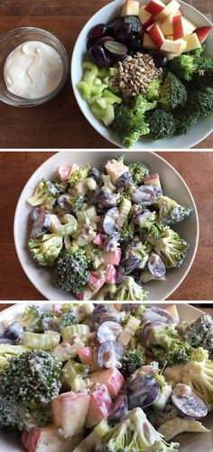 Traditional broccoli salad is made with fresh fruit, crunchy vegetables, and sunflower seeds and topped with a sweet and savory Greek yogurt dressing.