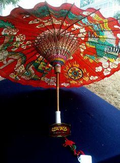 Vintage Zhisan Bamboo/Paper- Oriental Red Dragon Decorative Umbrella