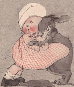 Baby and bunny clutching each other C. Twelvetrees by katinthecupboard, via Flickr