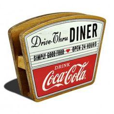 Coca Cola Wooden Drive Thru Diner Retro Napkin Holder Coca Cola Addiction, Burger Box, Coca Cola Kitchen, 50s Diner, Menu Holders, Always Coca Cola, World Of Coca Cola, Vintage Coke, 1950s Kitchen