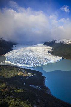 Aerial view of glacier in rural landscape, El Calafate, Santa Cruz, Argentina by Gable Denims