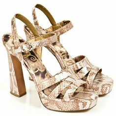 """Sam Edelman """"Taryn"""" Sandals Platform strappy sandals by Sam Edelman. """"Taryn"""" style in bronze snakeskin. Very little wear on soles. Worn only a couple of times indoors. In excellent condition!  