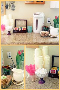 Coffee and Tea station. Lots of options for caffeine and decaf, tea flavors and different sweeteners!