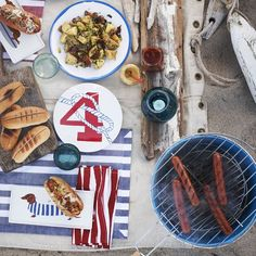 Schooner Malamine plates and Claudia Pearson Dog plates are so summery and perfect for that barbeque party on the beach! westelm.com