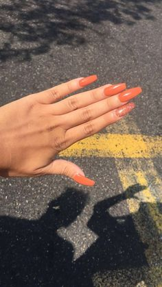 matte orange coffin nails  nail ideas  pinterest