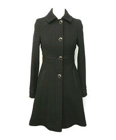 Another great find on #zulily! Black Wool-Blend A-Line Coat - Women by Ivanka Trump #zulilyfinds- This would be great in green with military accents.