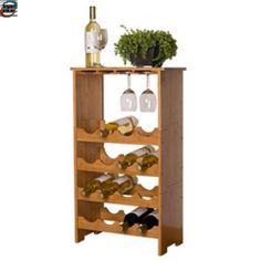 Vinhylle - Rack I Bambus Tre Med Plass Til 16 Flasker Og Ca 12 Glass