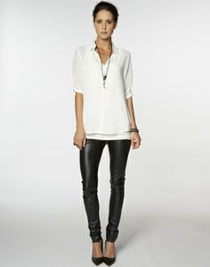 Short Sleeve Rouched Shirt - Tops - Shirts - Storm