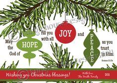 """Christmas Card Christmas Printable DIY PRINTABLE """"Hope, Joy, and Peace Ornaments""""  Christian Scripture Bible Verse Christmas Card"""