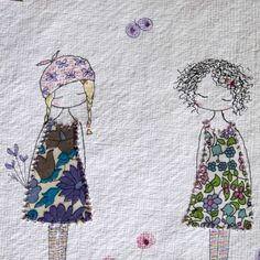 Friends Original Hand Embroidered Drawing Unframed