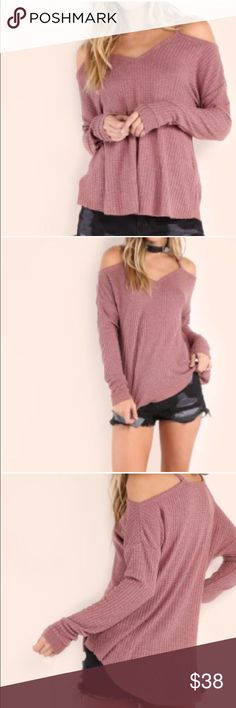 """🆕 Mauve Cold Shoulder Top Get ready for Fall with this lightweight Off the shoulder style sweater! Great for layering! Material: Polyester. Color is in between mauve and lavender. Nwot. Rough measurements • SMALL: bust 35"""", length front: 22"""" back: 27"""" • MEDIUM: bust 38"""", length front: 23"""" back: 28"""" • Tops"""