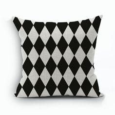 "18""*18"" Decorative Modern Black White Chevron Zig Zag Throw Cushion Cover Pillow Case for Sofa Bedding Couch Home Decor"