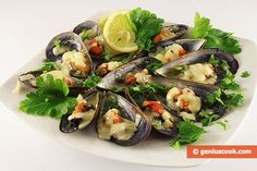 The Mussels Baked in Their Shells with Cheese Recipe | Dietary Cookery | Genius cook - Healthy Nutrition, Tasty Food, Simple Recipes
