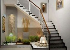 21 Inspiring Under Stairs Pebble Garden Ideas -Get the inspiration you need to plan your own indoor pebble garden for under your staircase. Interior Design Your Home, Home Stairs Design, Interior Stairs, Interior Garden, Apartment Interior, Modern House Design, Interior Livingroom, Stair Design, Window Design