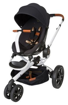 This city chic stroller with special-edition design is inspired by the jetset lifestyle. Made in partnership with designer Rachel Zoe, this version features cognac leather detailing and luxe goldtone hardware.