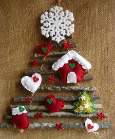 Door or wall Christmas tree- Door or wall Christmas tree - Gingerbread Christmas Decor, Wall Christmas Tree, Easy Christmas Ornaments, Felt Christmas Decorations, Christmas Nativity Scene, Christmas Art, Simple Christmas, Christmas Wreaths, Navidad Simple