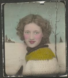 ** Vintage Photo Booth Picture ** Hand tinted winter background, young woman and her handmade sweater. Circa 1930