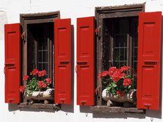 size: Photographic Print: Red Shuttered Windows and Geraniums, Tasch, Near Zermatt, Valais, Switzerland by Ruth Tomlinson : Artists Cafe Shutters, Red Shutters, Window Shutters, Window Boxes, Farm Cottage, Red Cottage, Cottage Style, Zermatt, Shutter Colors