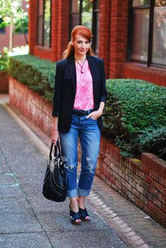 Neon pink and black with distressed denim - Over 40 fashion