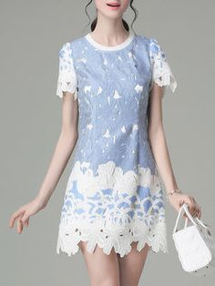 Blue Short Sleeve Embroidered Polyester Mini Dress
