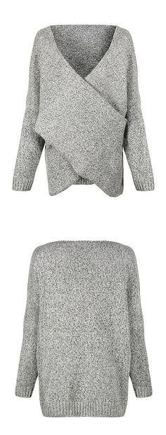 Women's Gray Criss Cross Wrap Front V Neck Long Sleeve Knit Sweater Jumper