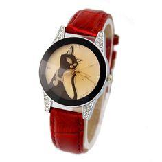 [$28.00] Women Retro Diamond Red Leather Quartz Watch Costume - Free Shipping