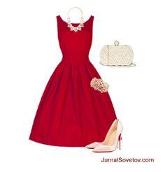 С чем носить красное платье - серебристые аксессуары и туфли пудрового цвета.