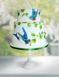 Images of painted cakes designed by MurrayMe. Look through the photos of vintage & floral wedding cakes, bird and ivy, butterflies and other cake designs. Fancy Cakes, Cute Cakes, Pretty Cakes, Elegant Wedding Cakes, Wedding Cake Designs, Elegant Cakes, Bird Wedding Cakes, Bird Cakes, Cupcake Cakes