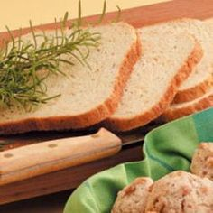 Super Easy Rosemary Bread Machine Recipe Double The Amount Of Rosemary And Garlic Skip The Thyme And Add 1 4 C Water Side Dish Recipes Pinterest