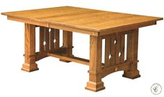 Our handcrafted Eagle River Mission Trestle Table is influenced by Southwest Mission and Arts