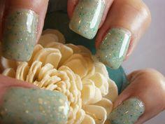 mint green with glitter polish via Etsy