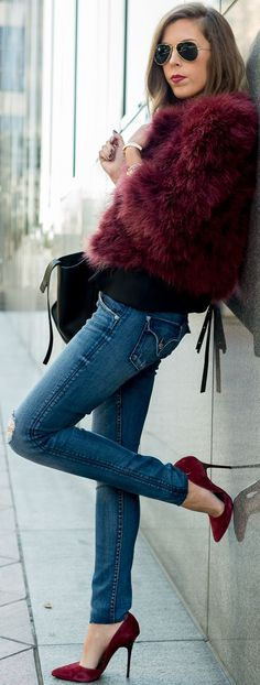 Faux-fur, Denim And Suede Fall Street Style Inspo by For The Love Of Fancy