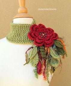 Stunning crochet work!!! Brick Flower Scarflette via Etsy.
