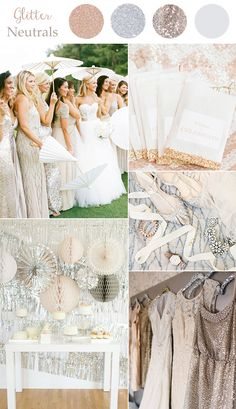 glitter neutral wedding colors for 2016 trends with metallics and sequins