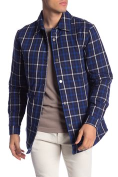Slate & Stone Plaid Print Snap Shirt Jacket In Navy/white Plaid White Plaid, Navy And White, Shirt Jacket, Shirt Dress, Slate Stone, Men Casual, Mens Fashion, Suits, Long Sleeve