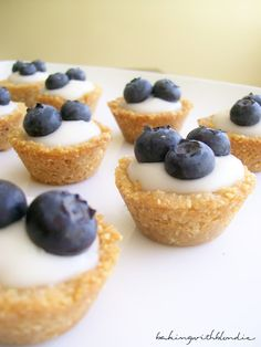 blueberry coconut custard mini tarts with honey almond crust -- how could this possibly NOT be delicious??