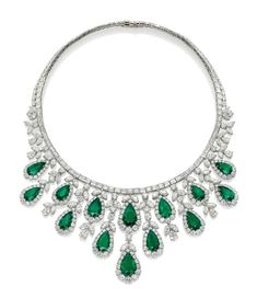 An emerald and diamond fringe necklace, by Harry Winston
