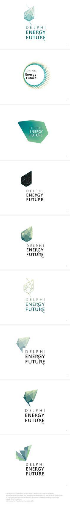 """Logos / Logoentwürfe für die Delphi Studie """"Delphi Energy Future"""", eine Initiative des Bundesverband der Energie- und Wasserwirtschaft e.V. (BDEW), der Deutschen Gesellschaft  für Internationale Zusammenarbeit (GIZ) GmbH und PricewaterhouseCoopers (PwC) #logo #energie"""