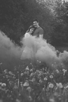 Smoke bomb engagement shoot in a floral field in summer.  Matt Fox Photography - Blog