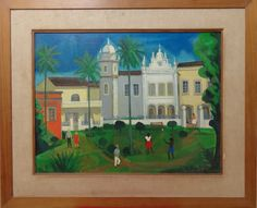 DJANIRA, óleo sobre tela, representando paisagem com figuras, medindo 64 x 49 cm.