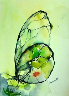 Arte acuarela verde mariposa, obra de arte original. Arte naturaleza de la pared para el hogar. Único regalo de cumpleaños. Cuadro de acuarela.